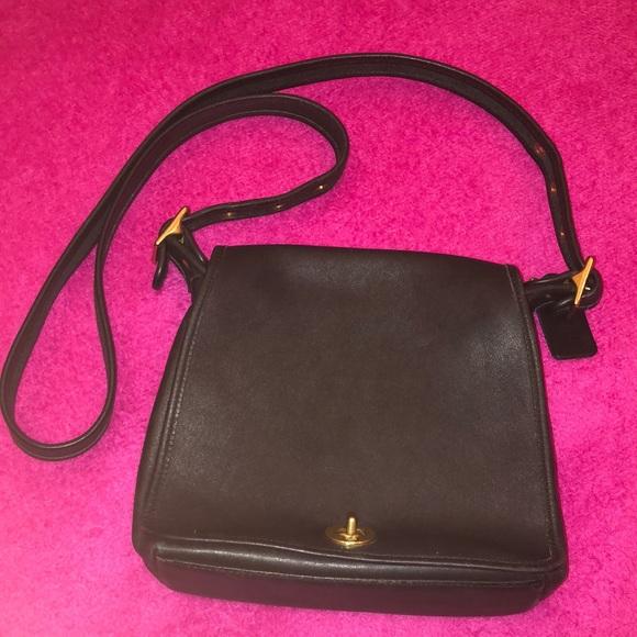 Coach Handbags - VINTAGE COACH BLACK CROSSBODY BAG GOLD HARDWARE